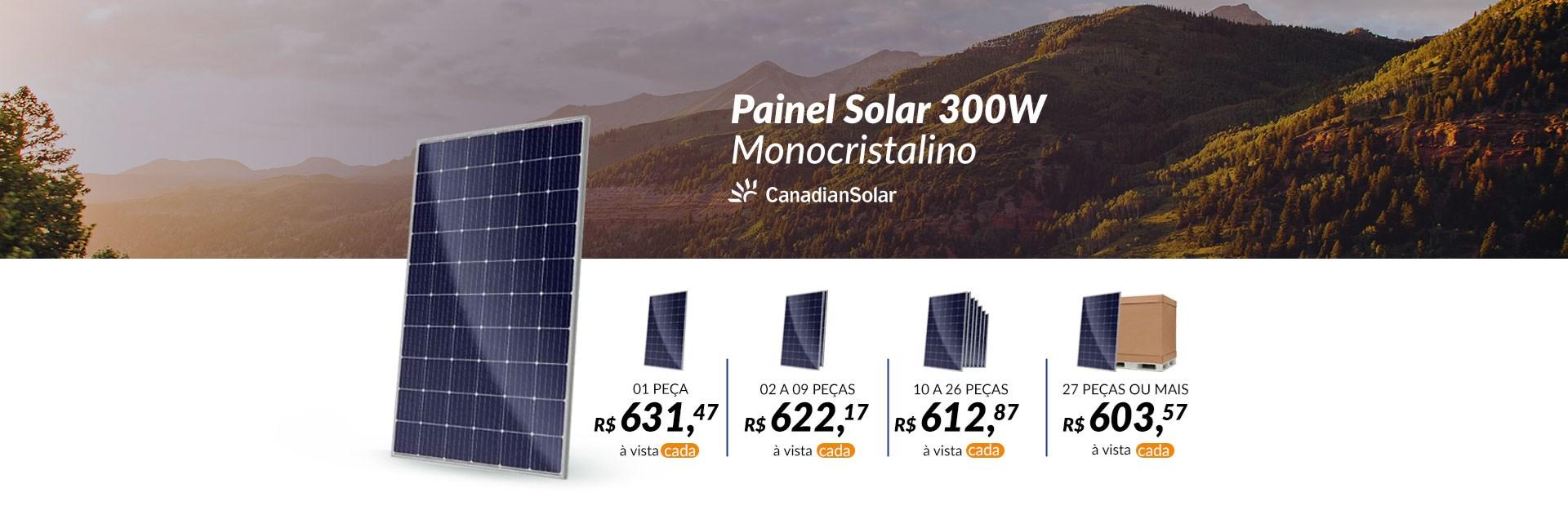 Banner Painel Solar 300W Monocristalino Canadian Solar