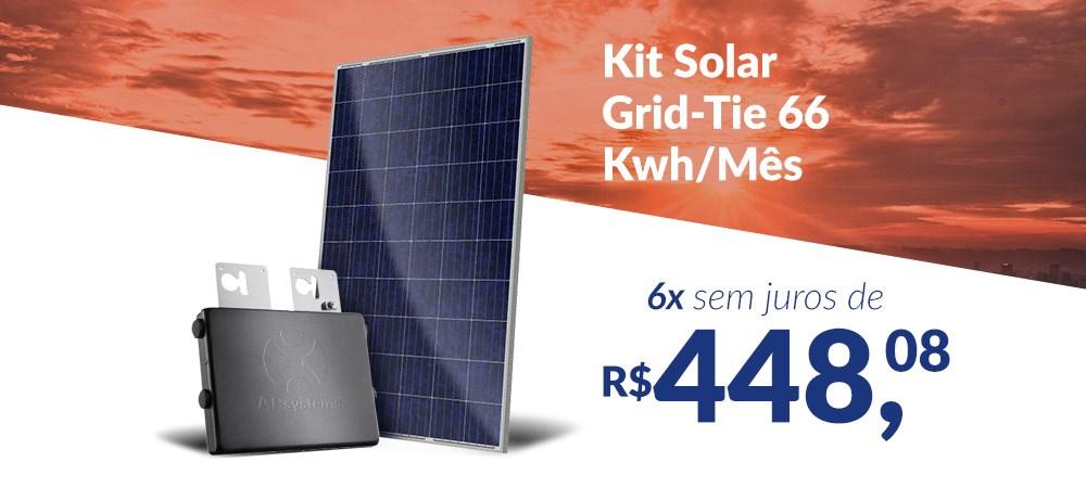 Kit Solar Grid-Tie 66 Kwh/Mês para Conexão à Rede Elétrica - 6x sem juros - 20.04 -
