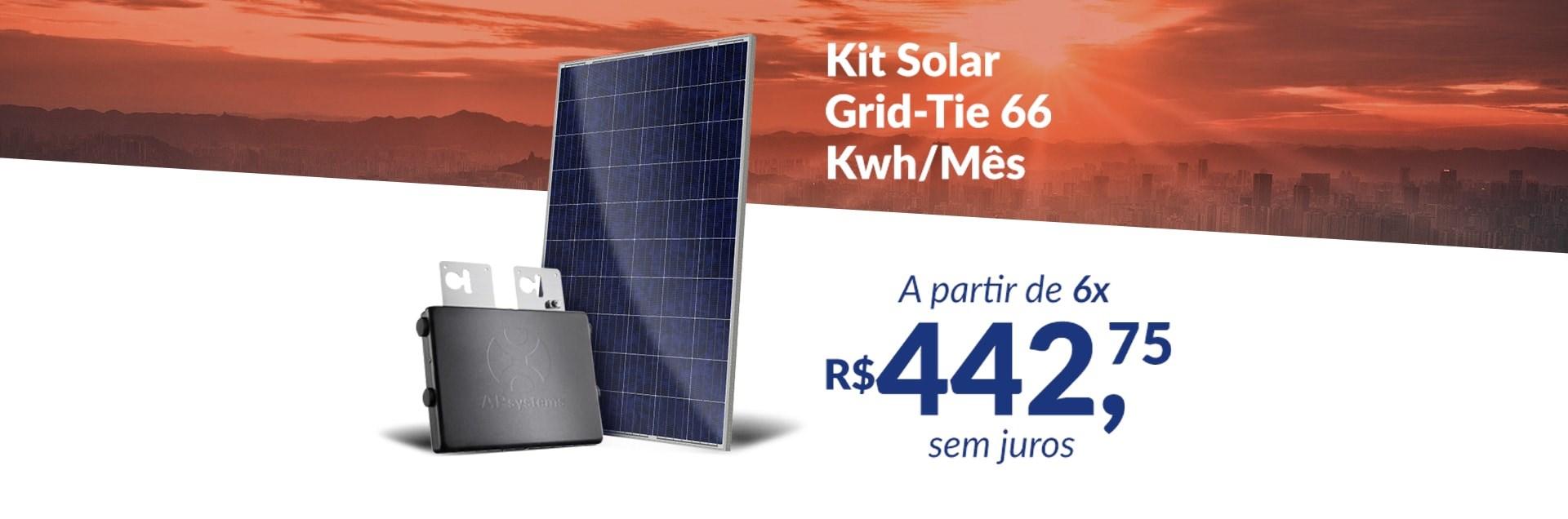 Banner Kit Solar Grid-Tie 66 Kwh/Mês para Conexão à Rede Elétrica