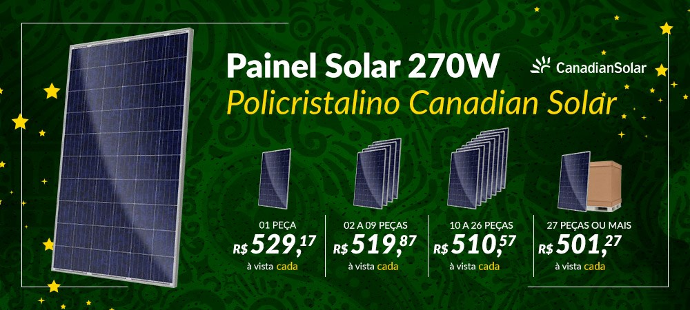 Banner Destaque Painel Solar de 270W Policristalino Canadian Solar -