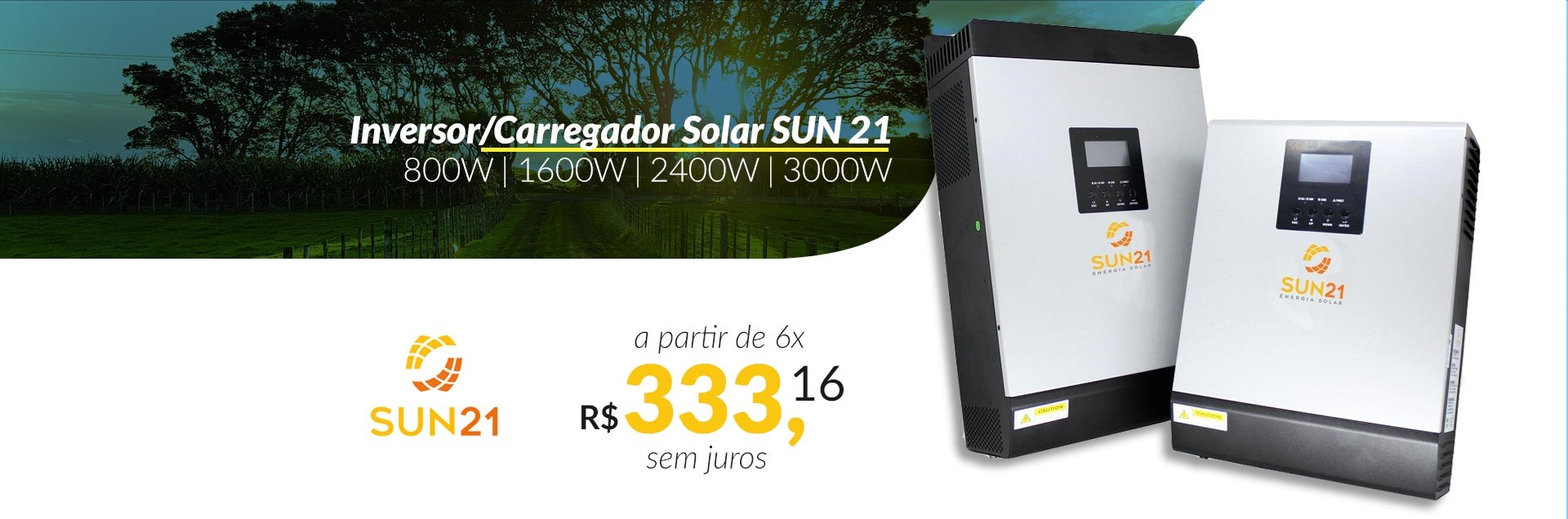 nversor/Carregador Solar Senoidal SUN21