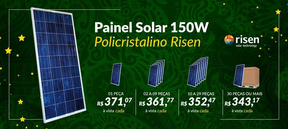 Banner Destaque Painel Solar 150W Risen Novo preço -