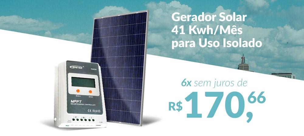 Gerador Solar 41 Kwh/Mês para Uso Isolado (Off-Grid) - 6x sem juros -