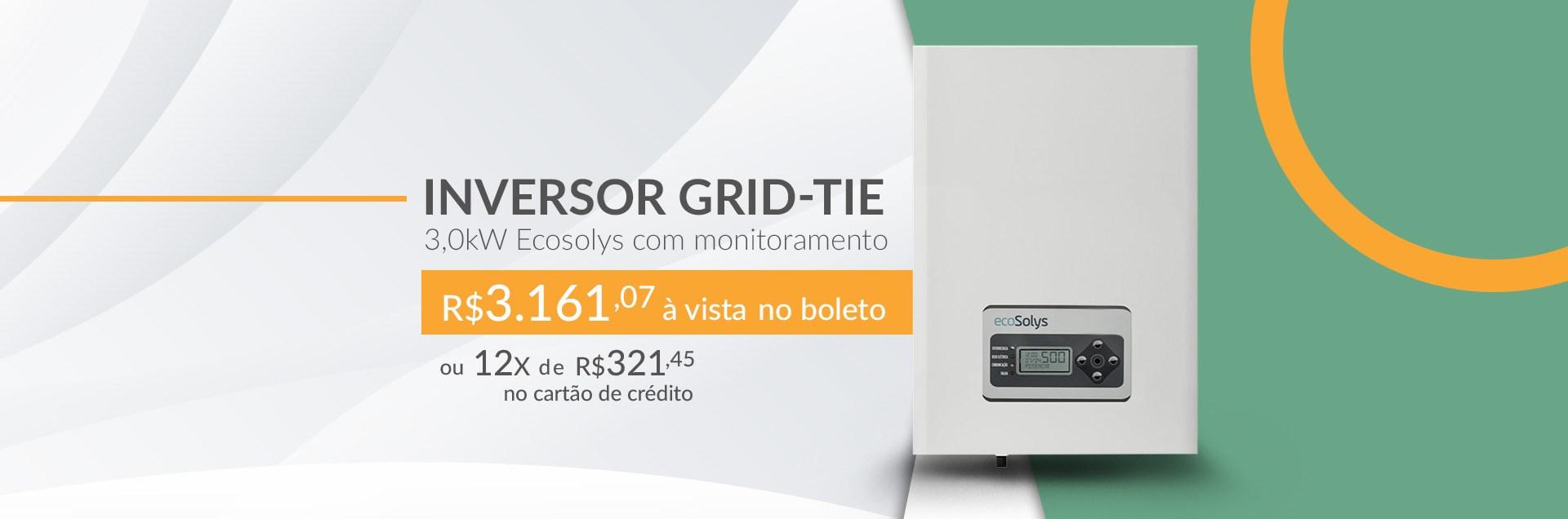 Inversor Grid-Tie 3,0kW Ecosolys com Monitoramento