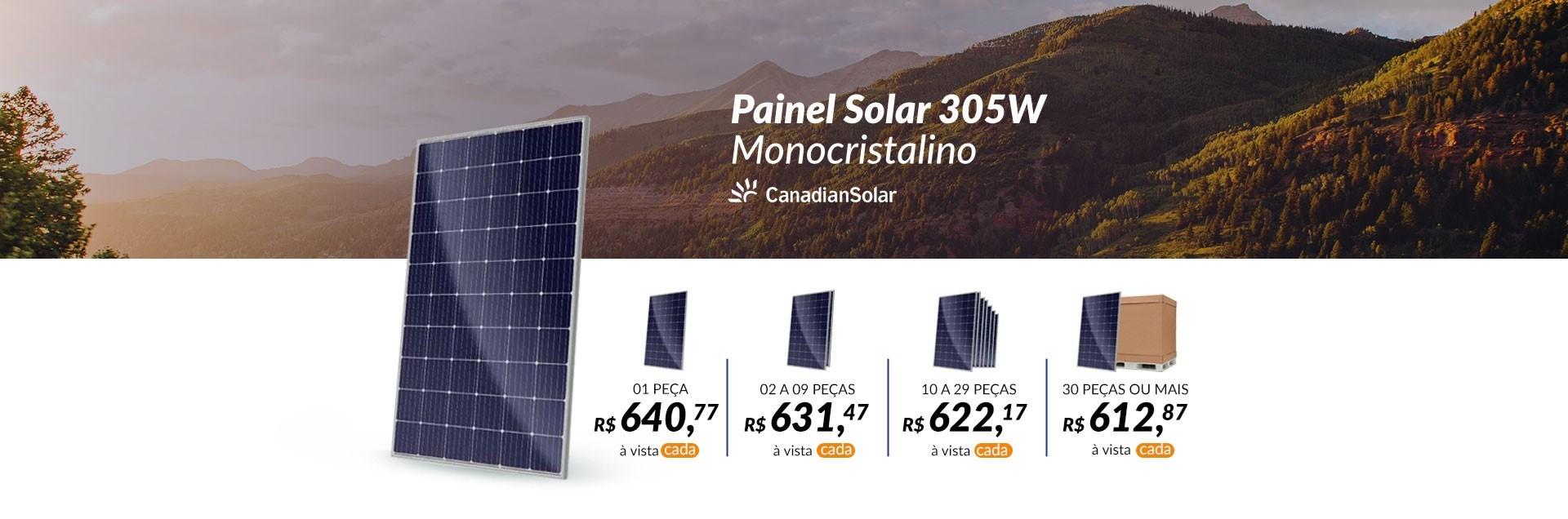 Banner Painel Solar 305W Monocristalino Canadian Solar