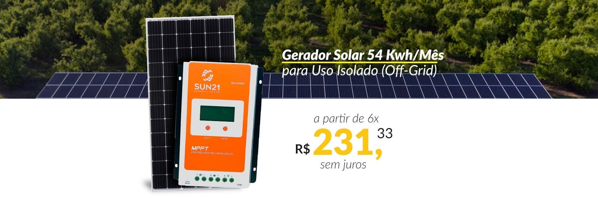 Gerador Solar off-grid 54Kwh/Mes