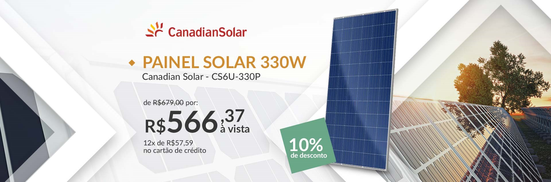Banner Painel Solar 330W Canadian Solar