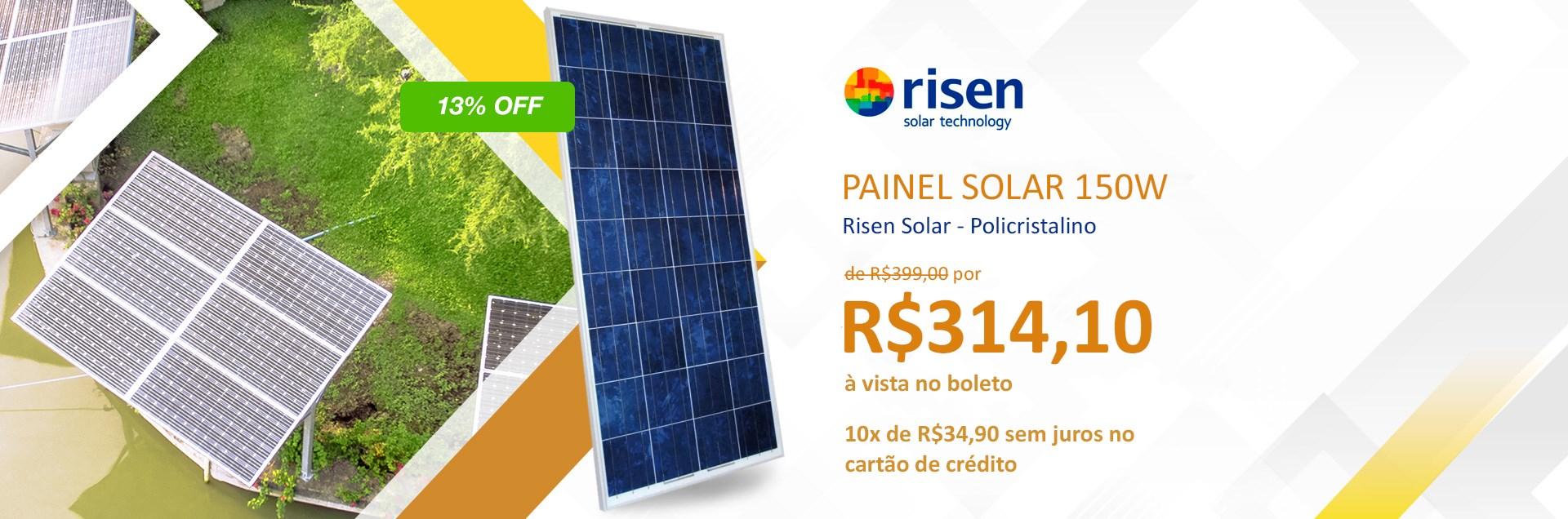Painel Solar 150W Risen Solar - Policristalino - Dezembro