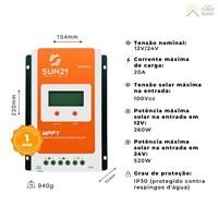 Produto Controlador de Carga 20A 12V/24V MPPT SUN21 - MAX-M2024